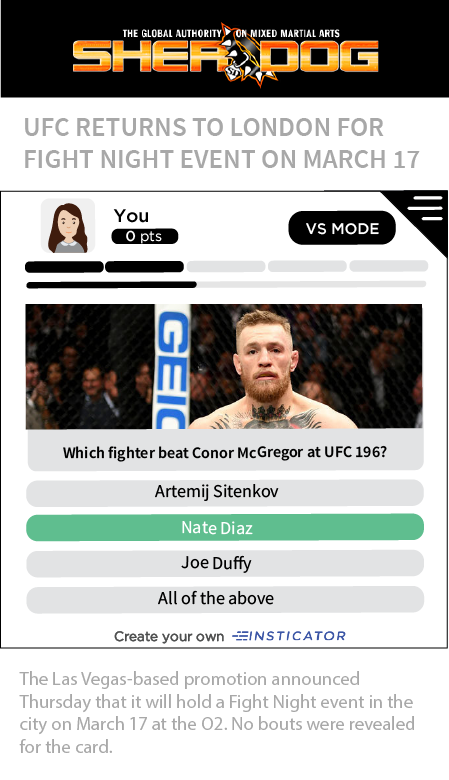 Showcasing Insticator widget within Sherdog website quizzing users on the winner of a fight.