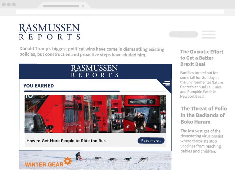 Showcasing Insticator widget on Rasmussen delivering a relevant story to users.