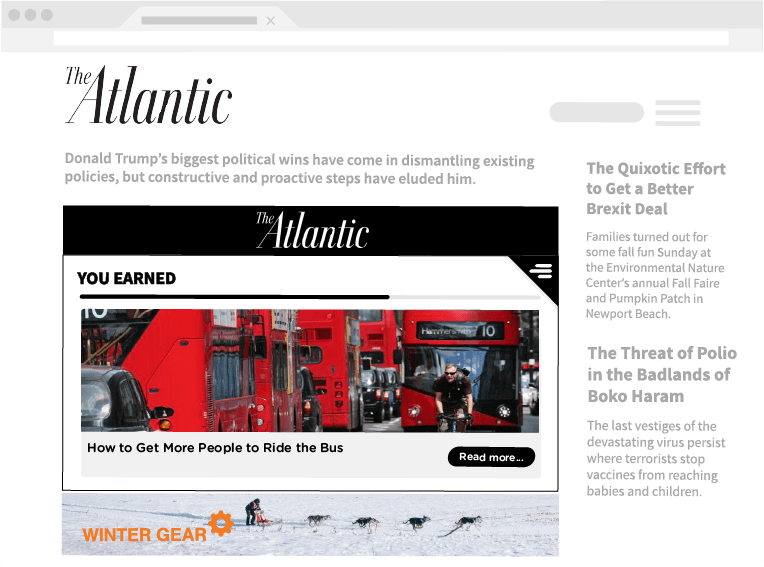 Showcasing Insticator widget on The Atlantic delivering a relevant story to users.