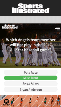 Showcasing Insticator widget within Sports Illustrated website polling users on baseball.