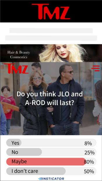 Insticator widget polling TMZ users about celebrities.