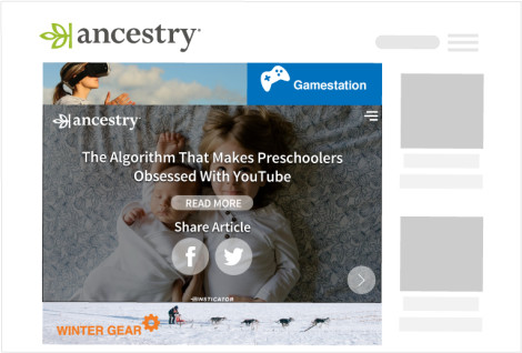 Showcasing Insticator widget on Ancestry delivering a relevant story to users.